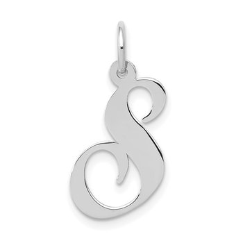 14K White Gold Medium Fancy Script Letter S Initial Charm