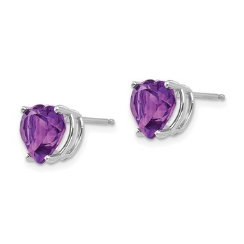 14k White Gold 8mm Heart Amethyst earring
