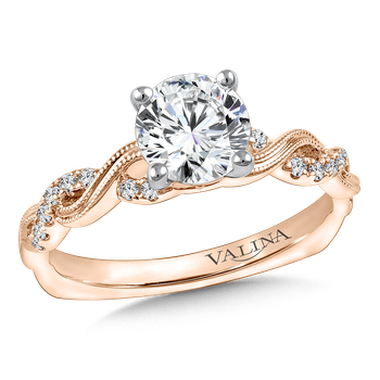 Diamond Engagement Ring Mounting in 14K Rose Gold (.13 ct. tw.)