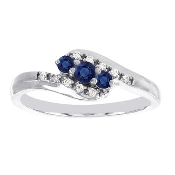 10k White Gold 3-stone Sapphire and Diamond Accent Promise Ring