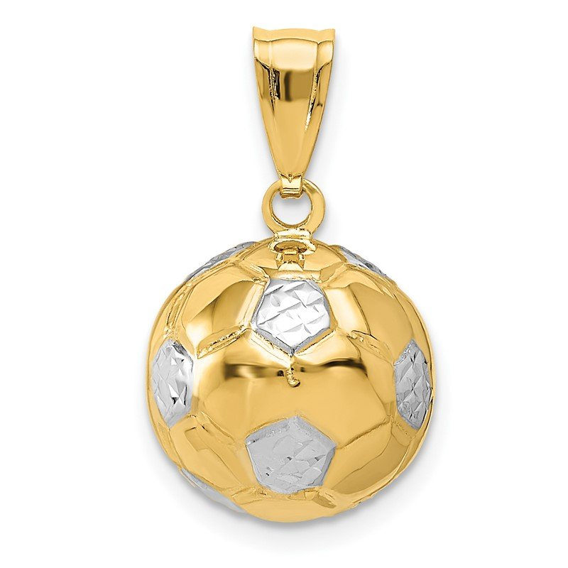 Quality Gold 14K w/Rhodium Soccer Ball Pendant