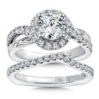 Caro74 Diamond Halo Engagement Ring Mounting in 14K White Gold with Platinum Head (.49 ct. tw.)