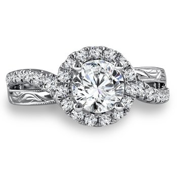 Diamond Halo Engagement Ring Mounting in 14K White Gold with Platinum Head (.49 ct. tw.)