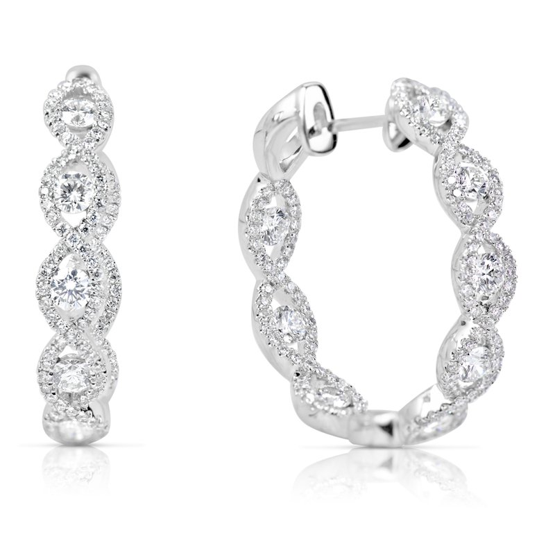 S. Kashi  & Sons Inside Out Diamond Hoop Earring