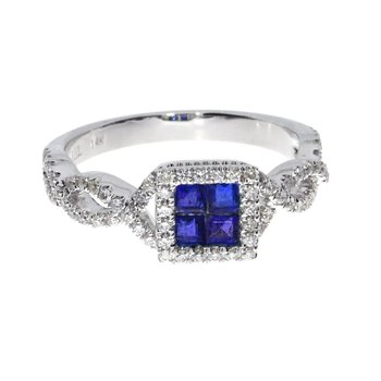 14k White Sapphire Princess Fashion Ring