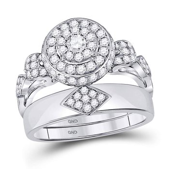 Womens Round Diamond Bridal Wedding Engagement Ring Band Set 1.00 Cttw