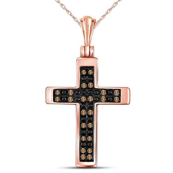 14kt Rose Gold Womens Round Brown Color Enhanced Diamond Cross Faith Pendant 1/8 Cttw