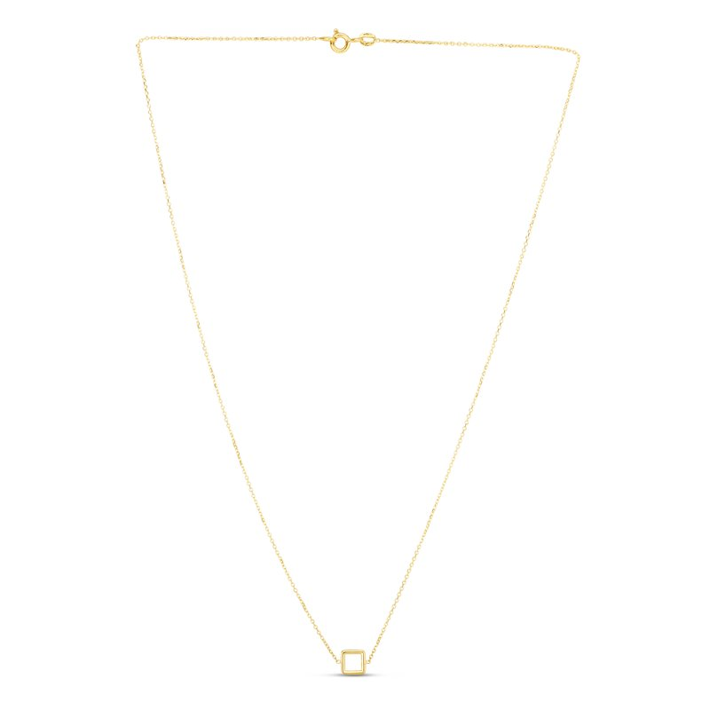 Royal Chain 14K Gold Mini Open Square Necklace