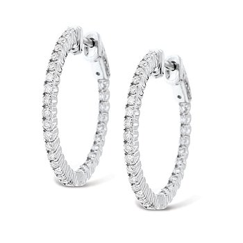 Diamond Inside Outside Hoop Earrings in 14k White Gold with 60 Diamonds weighing .75ct tw.