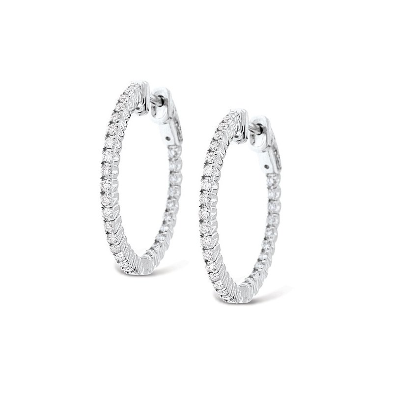 MAZZARESE Fashion Diamond Inside Outside Hoop Earrings in 14k White Gold with 60 Diamonds weighing .75ct tw.
