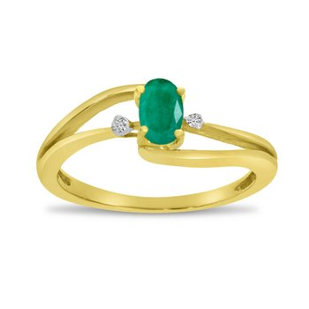 14k Yellow Gold Oval Emerald And Diamond Wave Ring