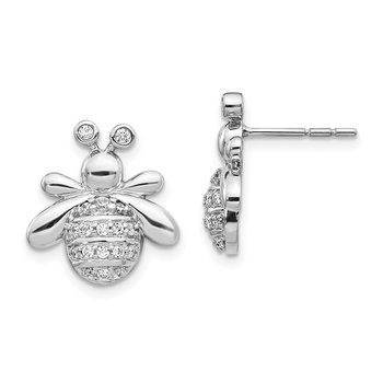 14k White Gold Diamond Bee Earrings