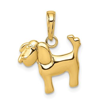 14k Polished Dog Charm
