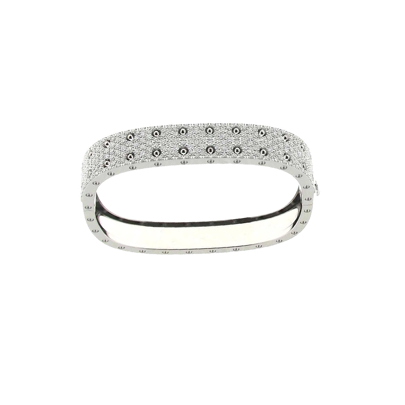Roberto Coin  #25554 Of 2 Row Pave Diamond Bangle