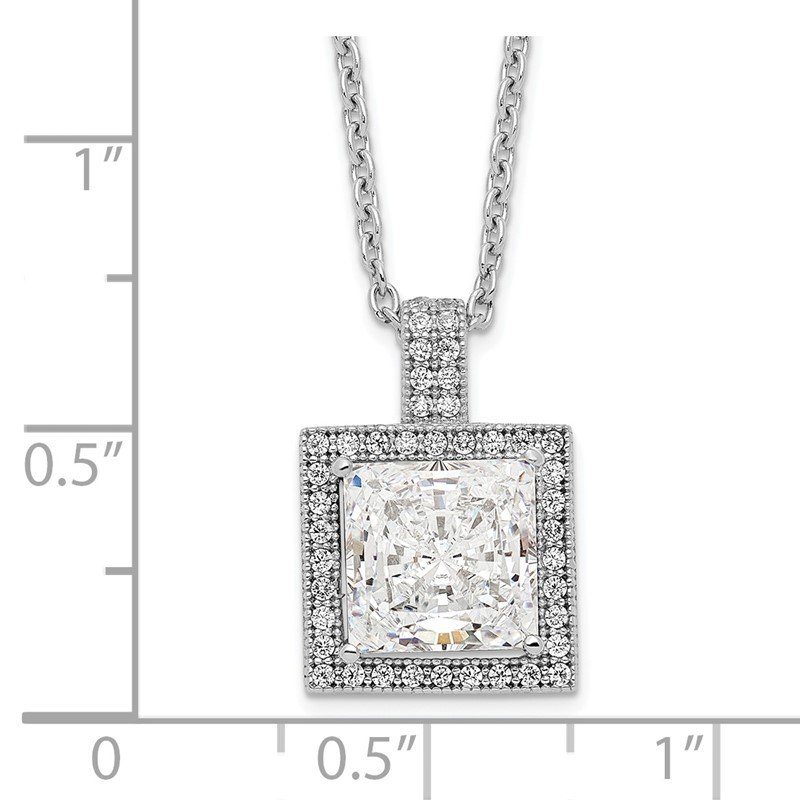 Quality Gold Sterling Silver Brilliant Embers Rhodium-plated CZ Necklace