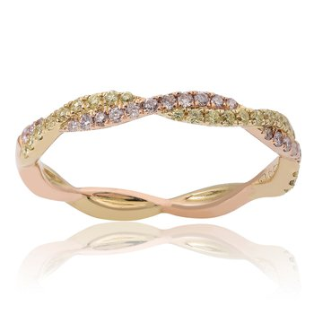 Criss Cross Tri-Colored Diamond Ring