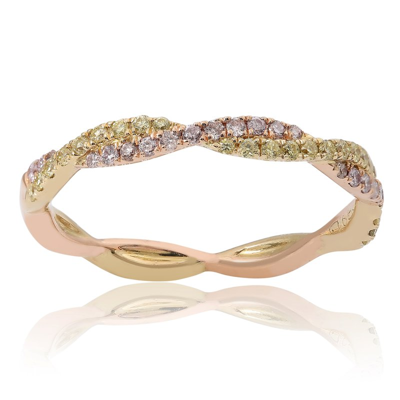 Roman & Jules Criss Cross Tri-Colored Diamond Ring