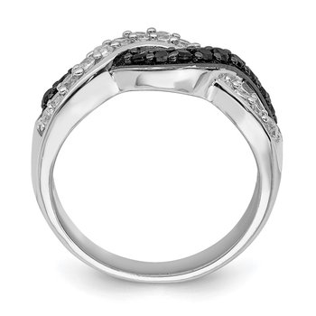 Sterling Silver Rhodium Black and Clear CZ Wavy Ring