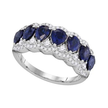 18kt White Gold Womens Pear Blue Sapphire Diamond Band Ring 2-3/4 Cttw