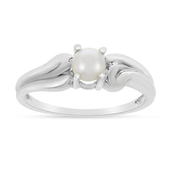 14k White Gold Freshwater Cultured Pearl Ring