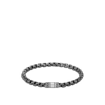 5MM Box Chain Bracelet in Blackened Silver