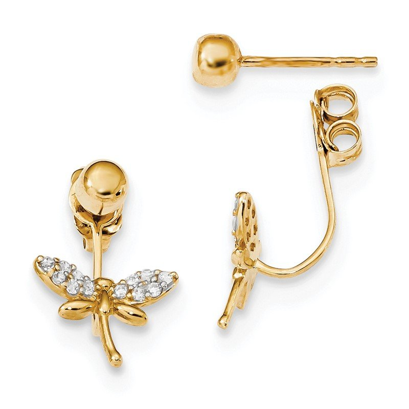 Quality Gold 14k w/ CZ Dragonfly Front & Back Earrings