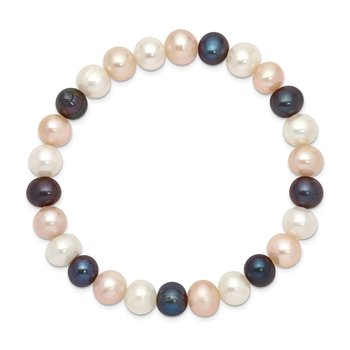 8-9mm FW Cultured White/Peach/Black Pearl Stretch Bracelet