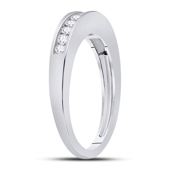 14kt White Gold Womens Round Channel-set Diamond Single Row Wedding Band 1/4 Cttw - Size 5