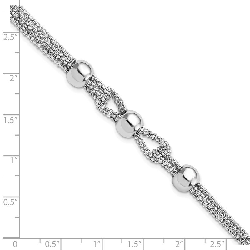 Leslie's Leslie's Sterling Silver Polished 4 Strand Beaded w/1in ext. Bracelet
