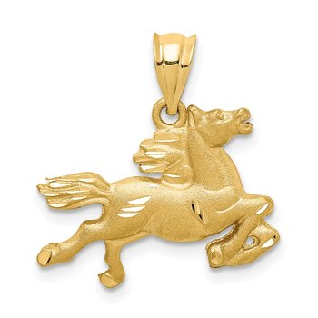 14K Brushed & Diamond-cut Horse Pendant