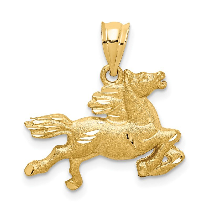 Quality Gold 14K Brushed & Diamond-cut Horse Pendant