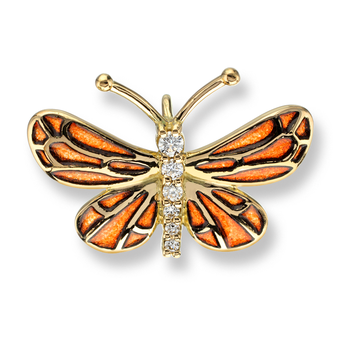 18 Karat Gold Small Butterfly Necklace -Orange. Diamonds.