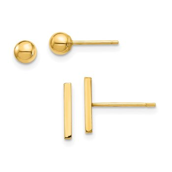 14K Bar and 3mm Ball Post Earrings Set
