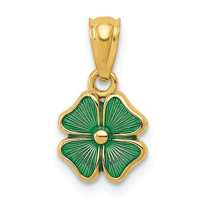 Quality Gold 14k Green Enameled Four Leaf Clover Pendant