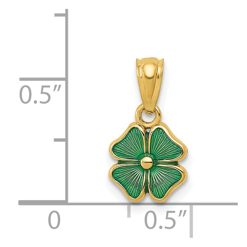 J.F. Kruse Signature Collection 14k Green Enameled Four Leaf Clover Pendant