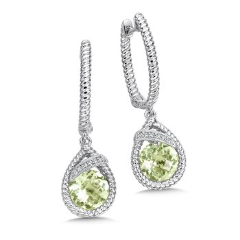 Sterling Silver Diamond & Green Amethyst Dangle Hoop Earrings