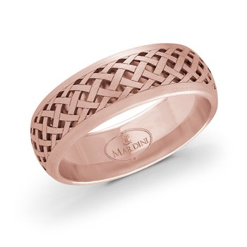 7mm rose gold quilted pattern cut out band