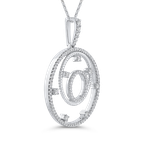 Essentials 10K White Gold 3/8 Ct Diamond Circle Pendant with Chain