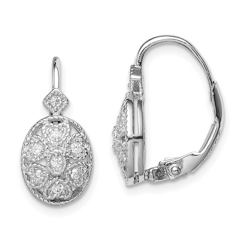 Quality Gold Sterling Silver Rhodium-plated Polished CZ Leverback Earrings