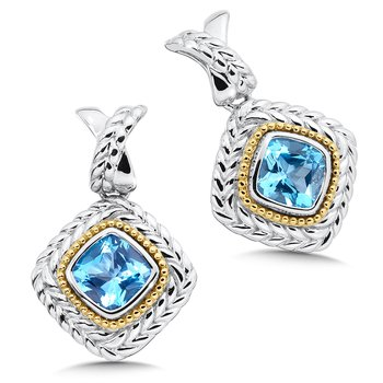 Sterling Silver Swiss Blue Topaz Post Earrings