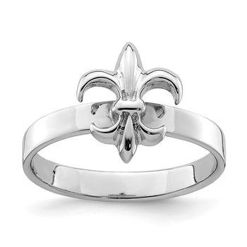 Sterling Silver Rhodium-plated 3mm Fleur De Lis Ring