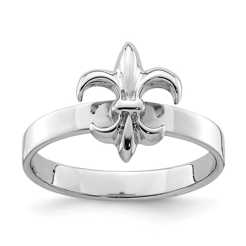 Quality Gold Sterling Silver Rhodium-plated 3mm Fleur De Lis Ring