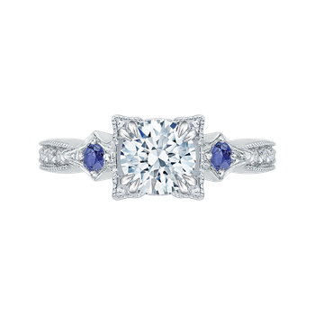 14K White Gold Round Diamond Engagement Ring with Sapphire (Semi-Mount)