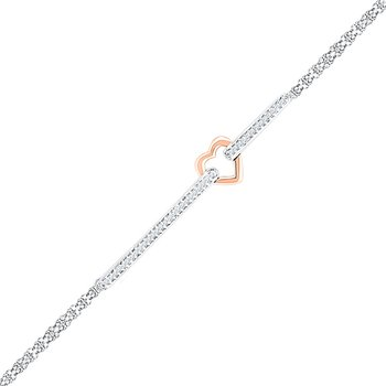 14kt Two-tone Gold Womens Round Diamond Heart Fashion Bracelet 1/8 Cttw