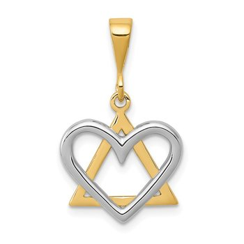 14K Two-Tone Star of David Heart Pendant