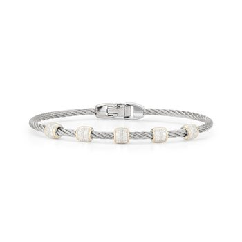 Grey Cable Multi Barrel Station Stackable Bracelet with 18kt Yellow Gold & Diamonds
