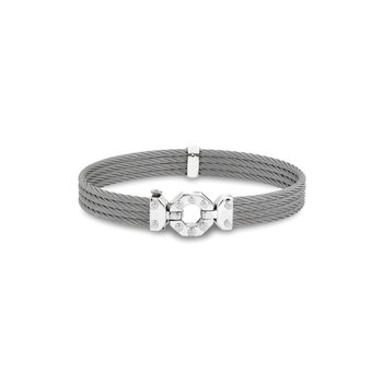 Grey Cable Bracelet with Steel & 18kt White Gold Octagonal Station