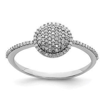 Sterling Silver Rhodium Diam. Round Ring