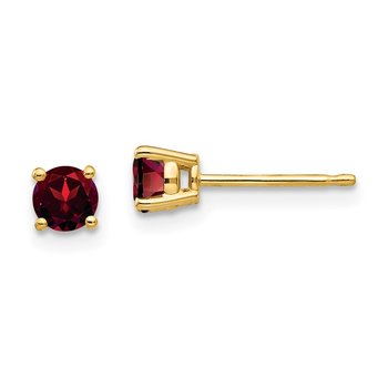 14k 4mm Garnet Earrings
