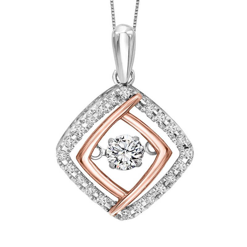 Rhythm of Love Silver & 10K Rose Gold Diamond Rhythm Of Love Pendant 1/3 ctw